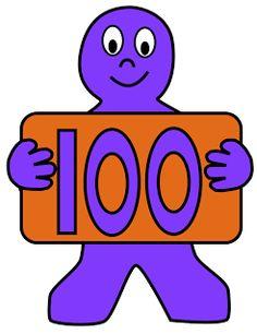 100 clipart.  kid free printables