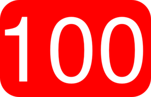 Number kid red rounded. 100 clipart