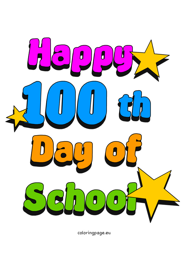 100 day clip art svg black and white download 100th Day of School Clip Art | Coloring Page svg black and white download