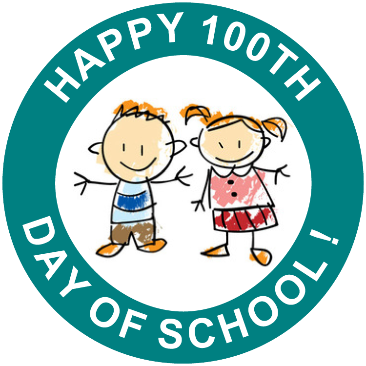 100 day school clipart clipart download Happy 100 Days of School Free Printable Stickers (set of 12)   100th ... clipart download