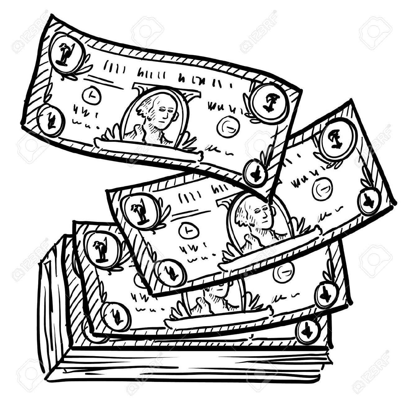 100 dollar bill clipart black and white