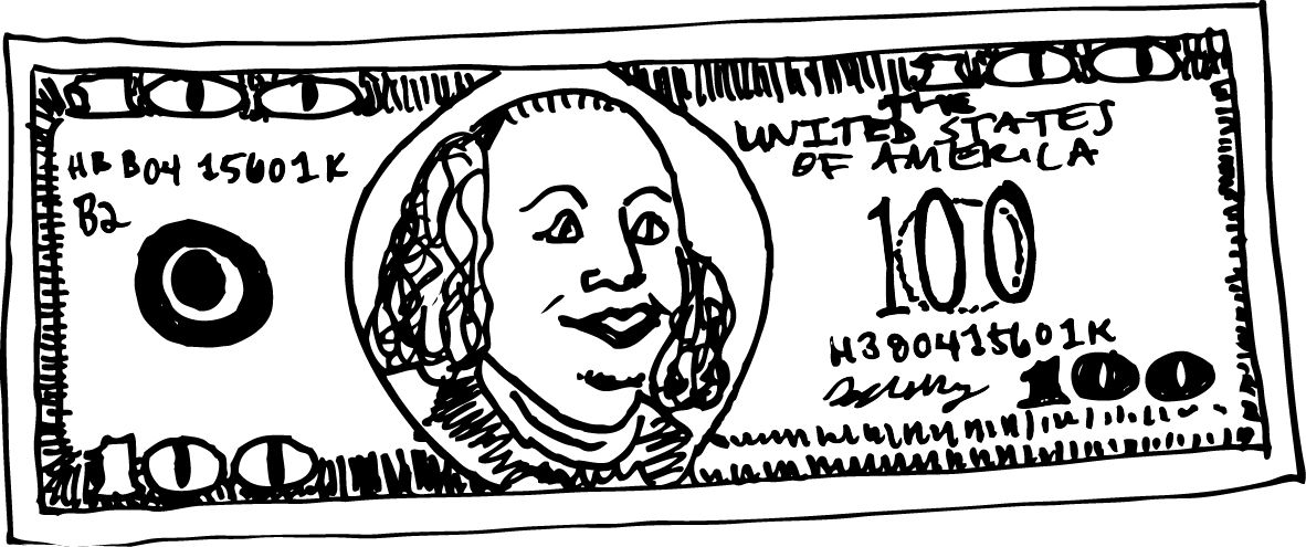 100 dollar bill clipart black and white vector freeuse download 100 Dollar Bill Sketch at PaintingValley.com | Explore collection of ... vector freeuse download