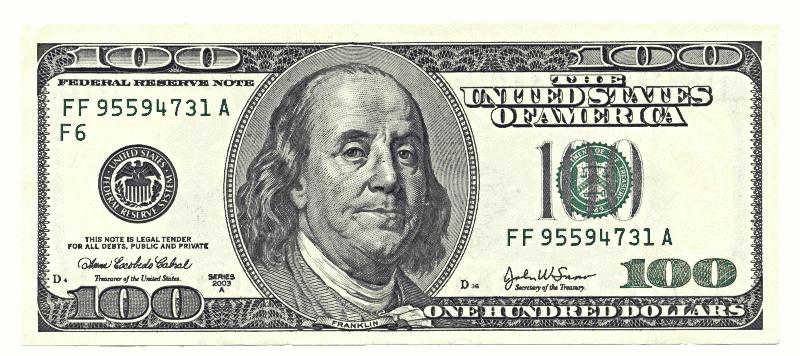 100 dollar clipart