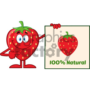 100 percent clipart clip art freeuse download Royalty Free RF Clipart Illustration Smiling Strawberry Fruit Cartoon  Mascot Character Pointing To A 100 Percent Natural Sign Vector Illustration  ... clip art freeuse download