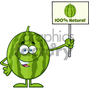 100 percent free clipart image royalty free Green Watermelon Fresh Fruit Cartoon Mascot Character Presenting A 100  Percent Natural Sign clipart. Royalty-free clipart # 404356 image royalty free