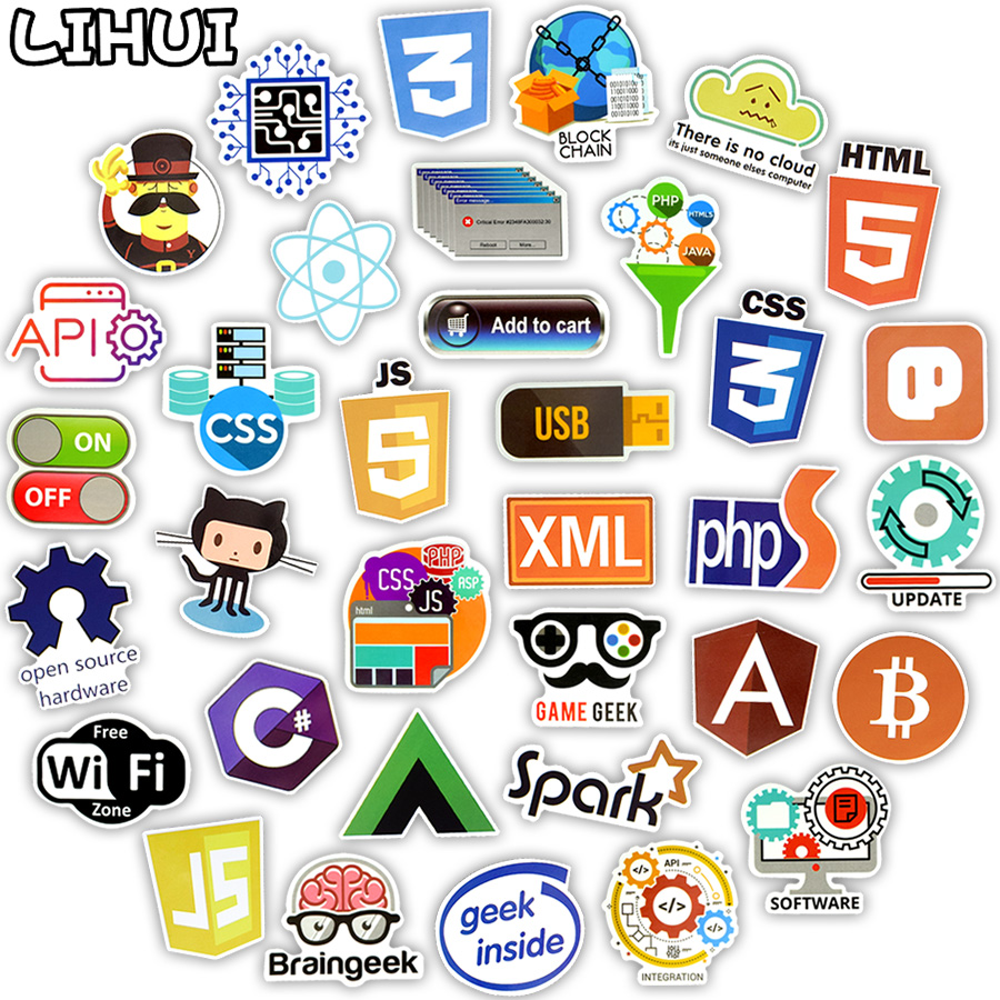 100 waterproof free clipart image free library US $3.99 20% OFF|100 PCS Internet Programming Language Stickers Java Html  Logo Funny Waterproof Sticker for Geeks Hackers to DIY Laptop Phone Car-in  ... image free library