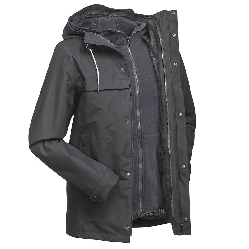 100 waterproof free clipart image transparent stock Men\'s 3in1 Waterproof Travel Jacket Travel 100 - Grey image transparent stock