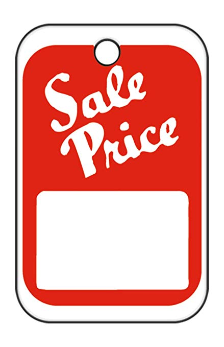 """1000 price tag clipart image black and white library Unstrung Red/White Sale Price Non-Perforated Price Tags - 1 ¼""""W x 1 7/8""""H -  Pack of 1000 image black and white library"""