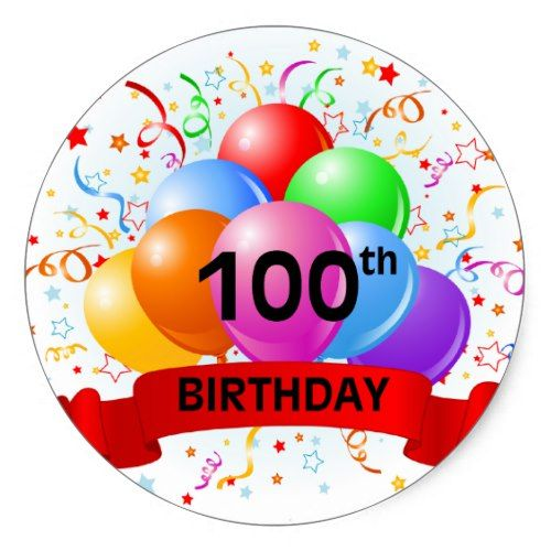 100th birthday balloons clipart image 100th Birthday Banner Balloons Classic Round Sticker | Zazzle.com ... image