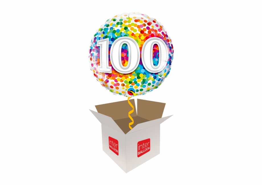 100th birthday balloons clipart png transparent library 100 Rainbow Confetti - Foil Balloon 100th Free PNG Images & Clipart ... png transparent library