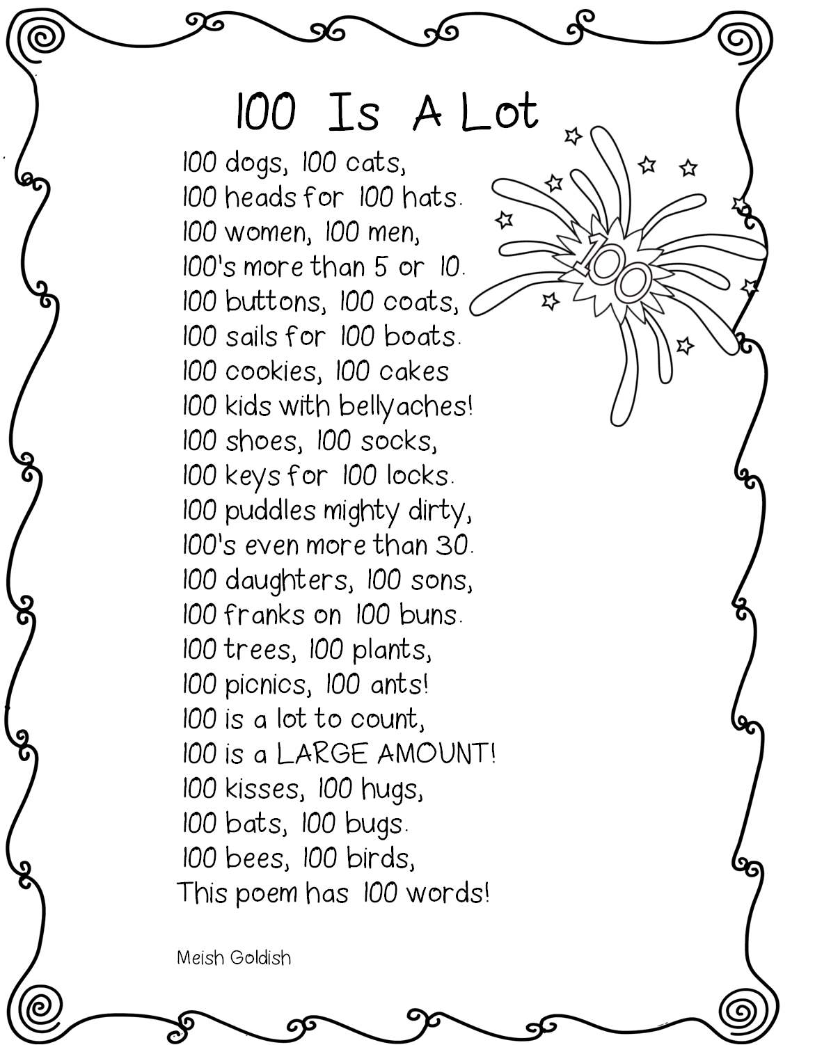 100th day of school clipart black and white png library library 100th+day+poem.png (1171×1502) | 100 days of school activities ... png library library