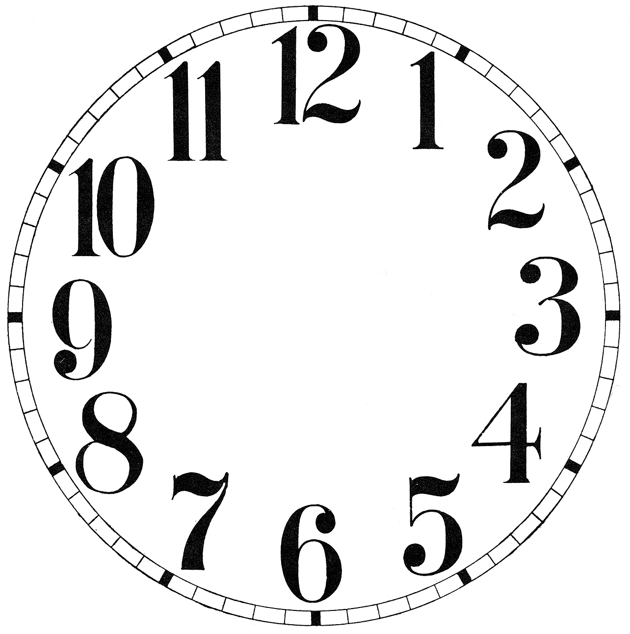 Clock face template clipart