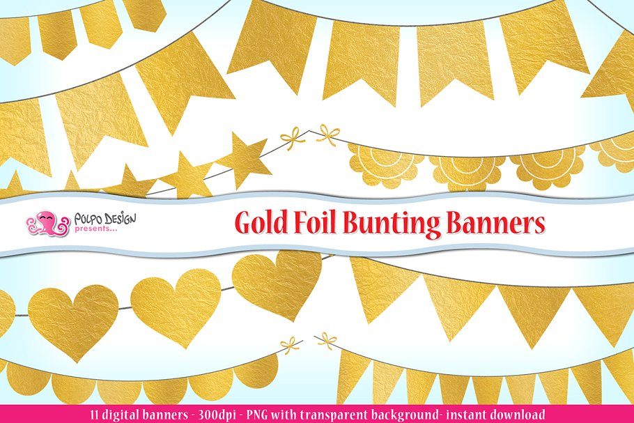 11 objects clipart free Gold Foil Bunting Banners clipart free
