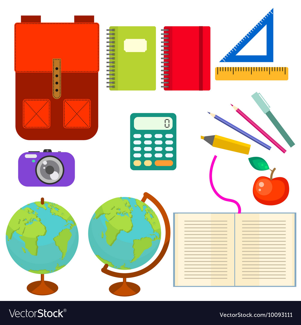 11 objects clipart vector freeuse stock School supplies clip art objects vector freeuse stock