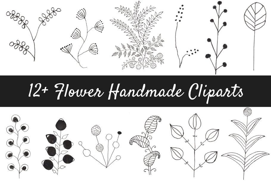 12 leaf flower clipart black and white graphic royalty free download 12+ Flower Handmade Clipart graphic royalty free download