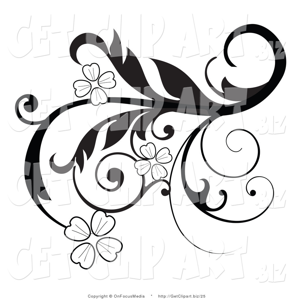 12 leaf flower clipart black and white graphic free Black And White Flower Border   Free download best Black And White ... graphic free