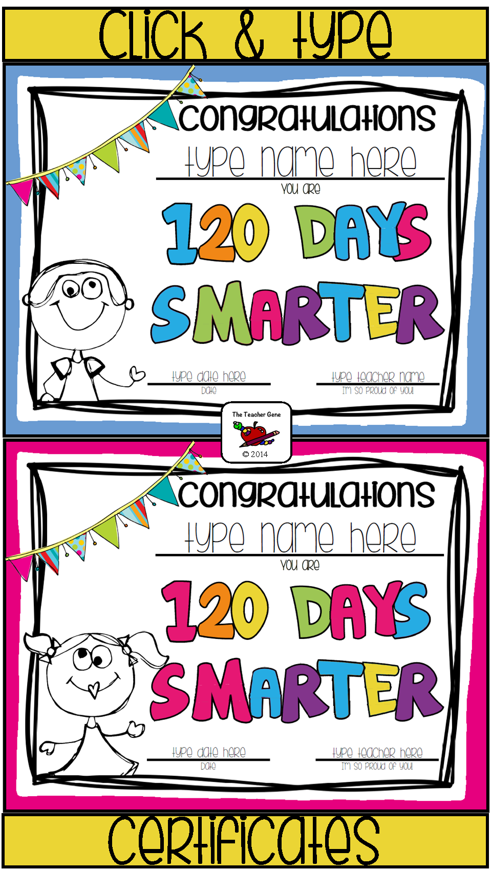 120 days smarter clipart picture library library 120th Day of School Certificate (Editable)   ClassTech   100 days of ... picture library library