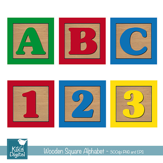 Alphabet blocks abc clipart clip art royalty free stock Baby Blocks Alphabet and Numbers Digital Clipart, Wooden Blocks ... clip art royalty free stock