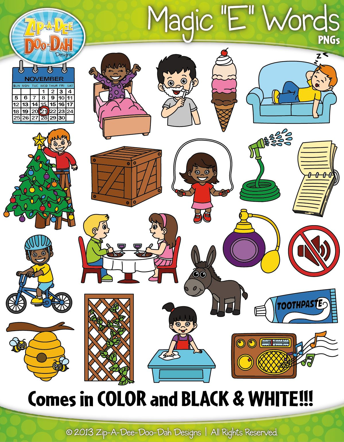 13 in words clipart clipart royalty free download Magic E Phonics Words Clipart {Zip-A-Dee-Doo-Dah Designs} | My ... clipart royalty free download