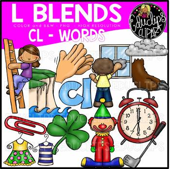 13 in words clipart clip black and white library L Blends CL Words Clip Art Bundle {Educlips Clipart} clip black and white library