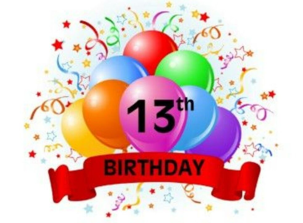 13th birthday clipart png black and white ♡☆ Happy 13th Birthday, you are now officially a Teenager ... png black and white