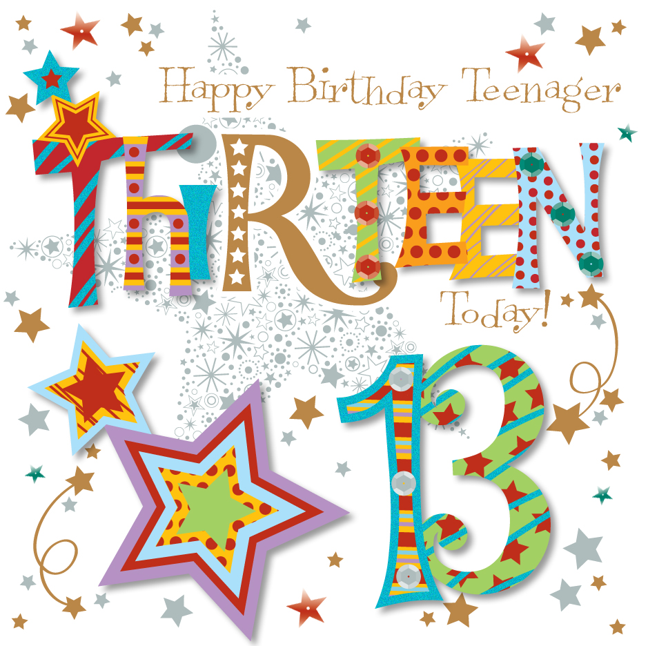 13th birthday clipart graphic Thirteen Today 13th Birthday Greeting Card graphic