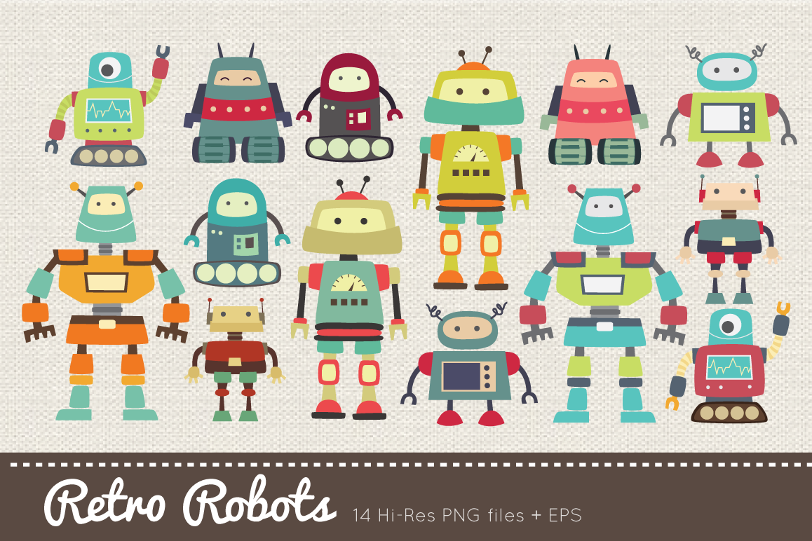 14 objects clipart svg library library Retro Robots Clipart svg library library