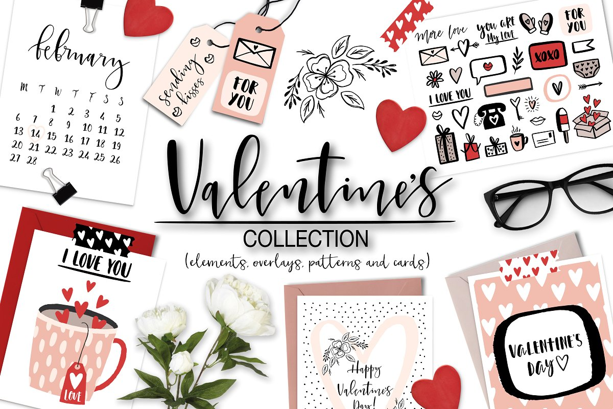 14 objects clipart picture stock Valentine\'s Day Overlays & Clipart ~ Graphic Objects ~ Creative Market picture stock