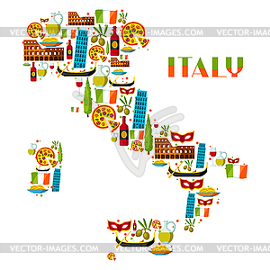 14 objects clipart banner freeuse stock Italy background design. Italian symbols and objects - vector clipart banner freeuse stock