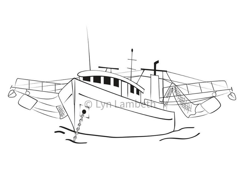 16 foot boat clipart clip art black and white Shrimp Boat Drawing at PaintingValley.com | Explore collection of ... clip art black and white