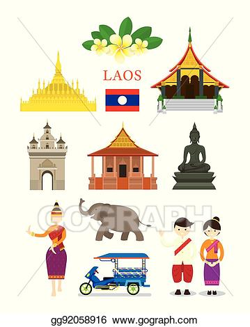 16 objects clipart clip art black and white download Vector Art - Laos landmarks and culture object set. EPS clipart ... clip art black and white download