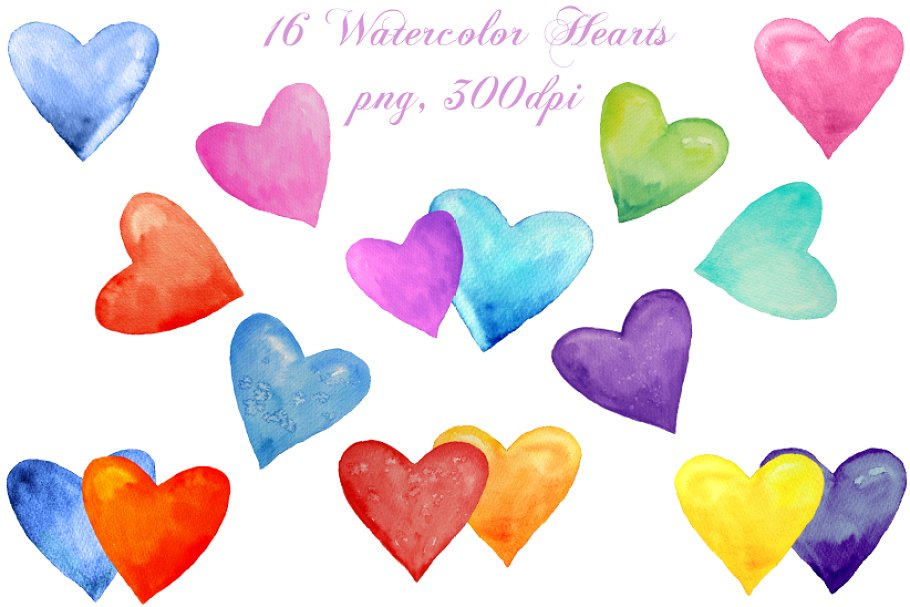 16 objects clipart clip library stock Watercolor Heart Clipart clip library stock