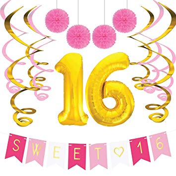 16th birthday clipart simple jpg library Sweet 16 Birthday Party Pack – Sweet Sixteen Decorations, Party Favors,  Supplies, Gifts, Themes and Ideas - Milestone Happy Birthday Decorations jpg library
