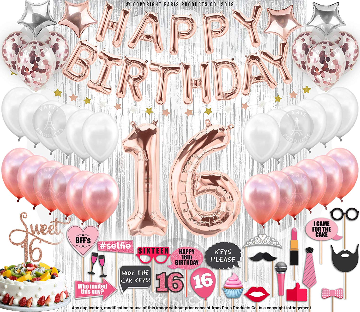 16th birthday clipart simple vector transparent 16th Birthday Decorations Party Supplies Sweet 16 Birthday balloons | Rose  gold Confetti Balloons|16 Cake Topper Rose Gold| Silver curtain for Photo  ... vector transparent