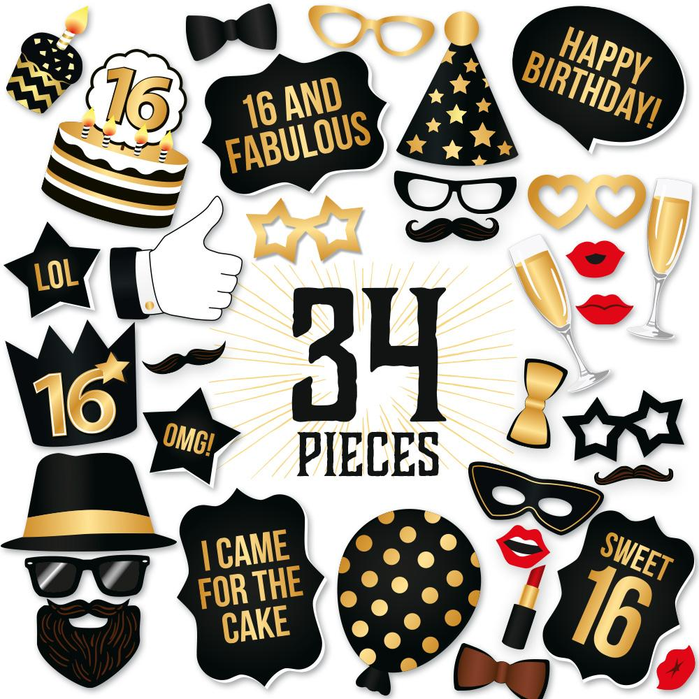 16th birthday clipart simple clipart transparent library 16th Birthday Photo Booth Props - Black and Gold - 34 Count clipart transparent library