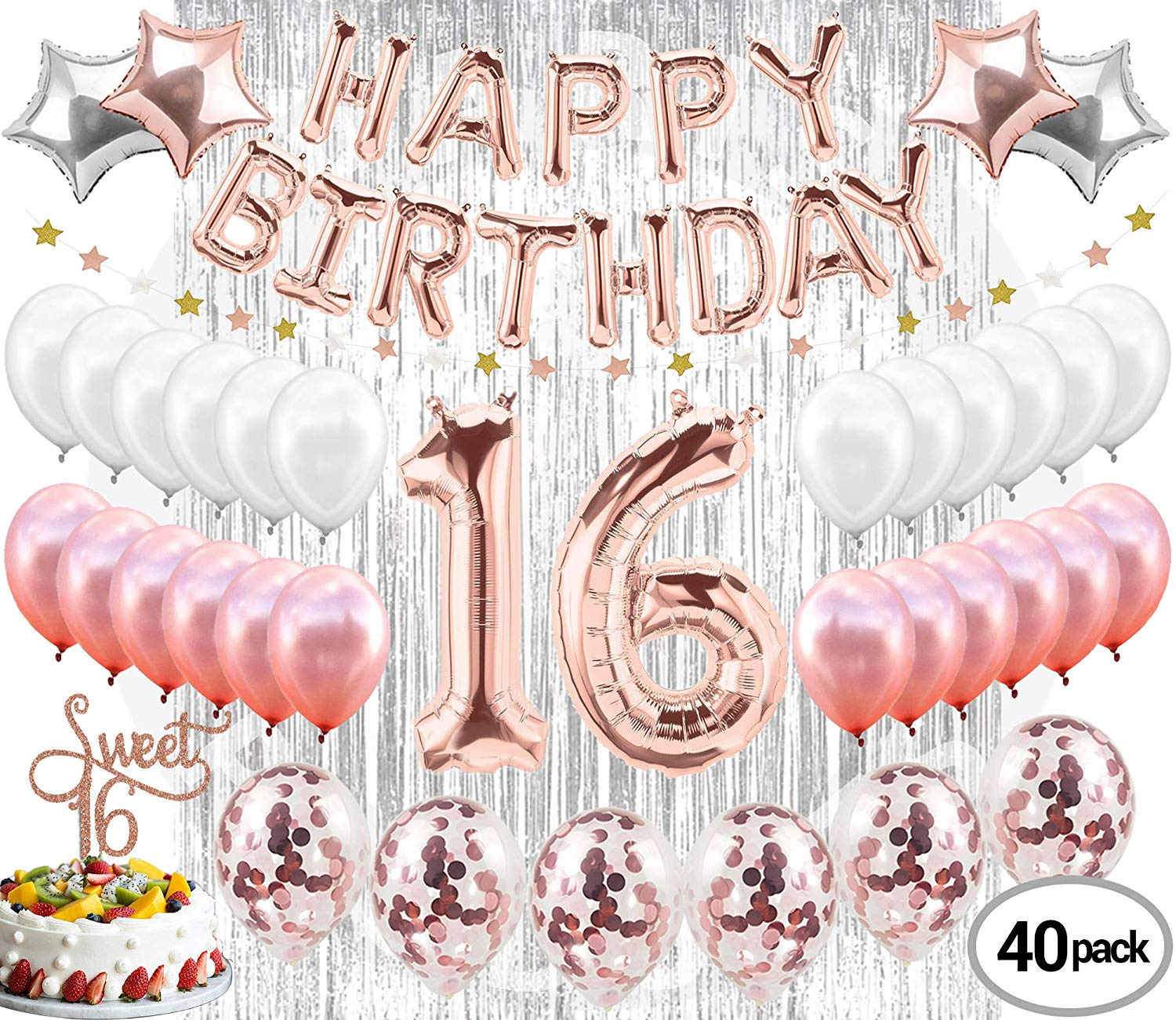 16th birthday clipart simple jpg transparent Buy 16th Birthday Decorations Party Supplies Sweet 16 Birthday ... jpg transparent