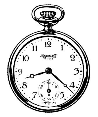 17 uhr clipart clipart black and white library Vintage Clip Art - Black and White Pocket Watches   Transfer ... clipart black and white library