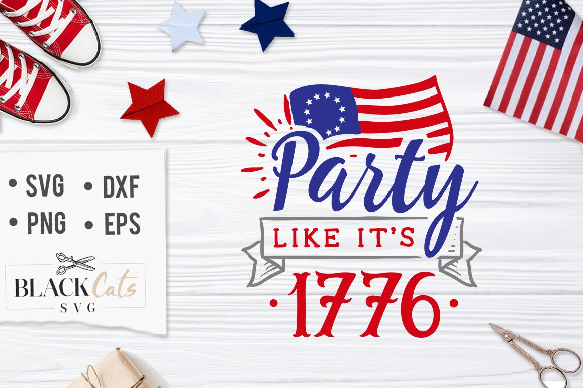 1776 clipart black and white stock Party like it\'s 1776 SVG file Cutting File Clipart in Svg, Eps, Dxf, Png  for Cricut & Silhouette black and white stock
