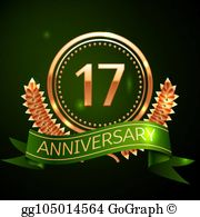 17th anniversary clipart