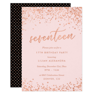17thbirthday invatation clipart clip stock Rose Gold 17th Birthday Invitation | Faux Foil clip stock