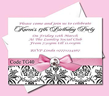 17thbirthday invatation clipart svg stock Personalised Teenage Girls Birthday Party Invitations Cards Ages  13th-14th-15th-16th-17th-18th-19th - Size A6 - 148mm x 105mm - All Orders  Come With ... svg stock