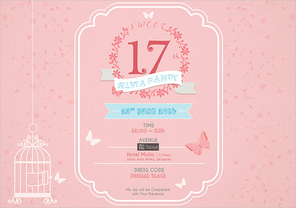 17thbirthday invatation clipart jpg library download 83+ Birthday Invitations - Word, PSD, AI, EPS | Free & Premium Templates jpg library download