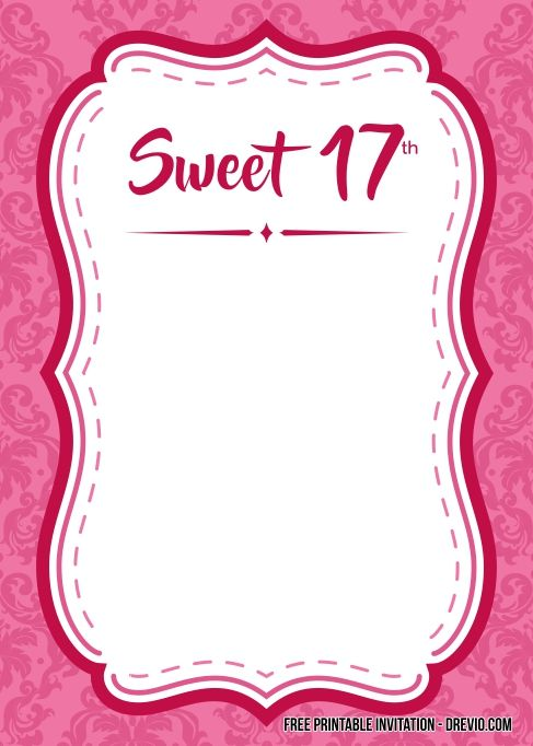 17thbirthday invatation clipart clip art library download FREE Printable Sweet 17th Birthday Invitation... | Free Printable ... clip art library download
