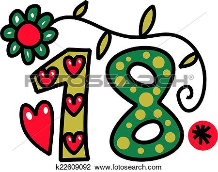 Clip art of number. 18 anni clipart