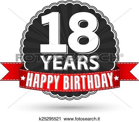 Clipart - buon compleanno, 18, anni, retro, etichetta, con, nastro ... png freeuse library