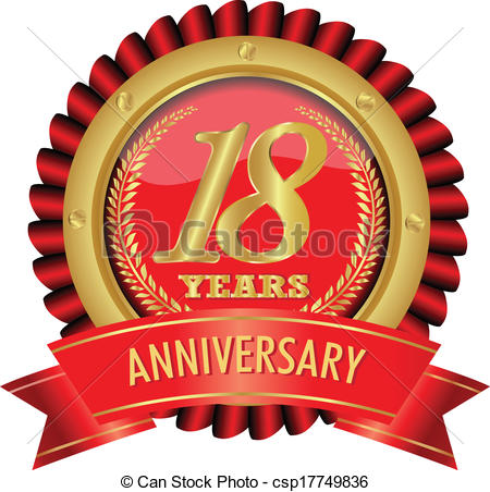 Vectors of years anniversary. 18 anni clipart