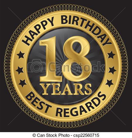Clipart vettoriali di etichetta, vettore, oro, 18, compleanno ... picture freeuse