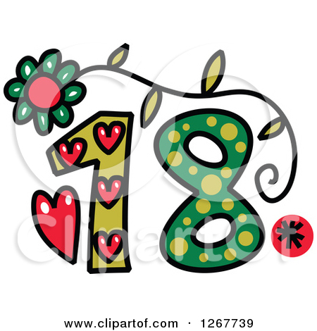 18 clipart svg black and white stock Clipart of a Colorful Sketched Patterned Number 18 - Royalty Free ... svg black and white stock