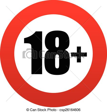 18 clipart. Vector of age restriction