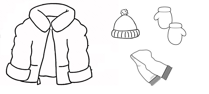 18 outline clipart. Winter scarf black and
